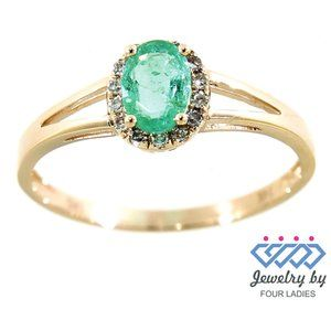 Halo Diamond Oval Style Emerald Ring Yellow Gold